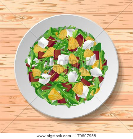 Vegetable salad with fresh tasty arugula rucola rocket green leaves red beet beetroot feta cheese orange citrus on plate wooden background background. Top view close-up color vector illustration.