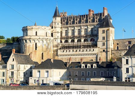 Chateau d`Amboise, France. This royal castle is located in Amboise in the Loire Valley was built in the 15th century and is a tourist attraction.