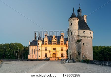 The Chateau de Chenonceau, France. This castle is located near the small village of Chenonceaux in the Loire Valley was built in the 15-16 centuries and is a tourist attraction.