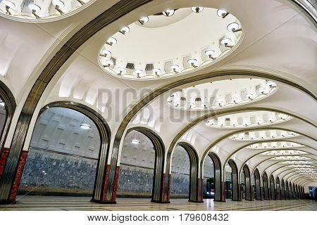 MOSCOW - MAY 17, 2012: The metro station Mayakovskaya in Moscow. Metro station Mayakovskaya is a beautiful monument of the Soviet era.