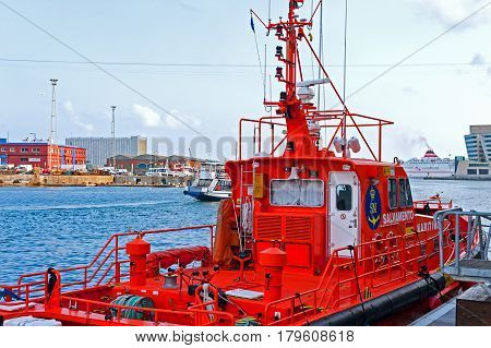 Barcelona, Spain, August 7, 2014: Coastguard boat docked at the Barcelona Harbor