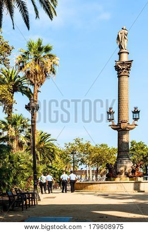 Barcelona, Spain - September 7, 2014:  Columbus Monument at the Barcelona waterfront promenade