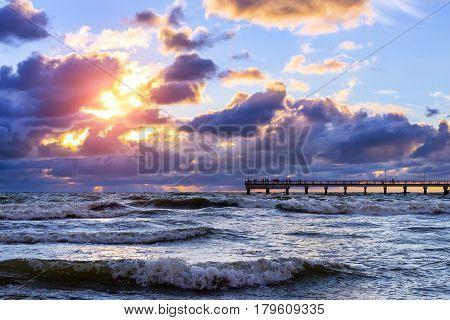 Sunset At Baltic Sea In Resort Palanga, Lithuania