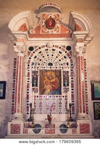 San Bonifacio Italy - March 11 2017: Detail of the altar of the votive church of Saint Mary of the Alzana famous for the many unexplained healings.