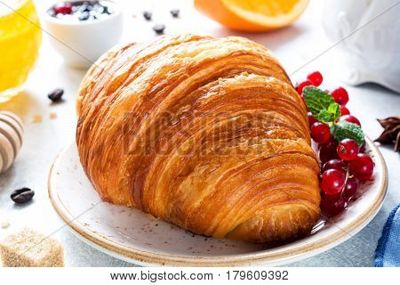 Fresh croissant for breakfast. Closeup view of continental breakfast