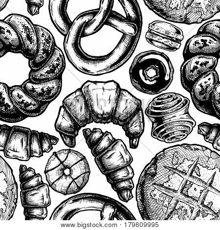 Vector seamless pattern with different sweet pastries. illustration background in old fashioned etched style.