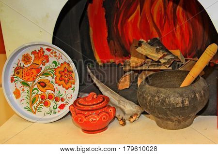 Composition - Hearth, Cauldron, Tray, Goose Feathers