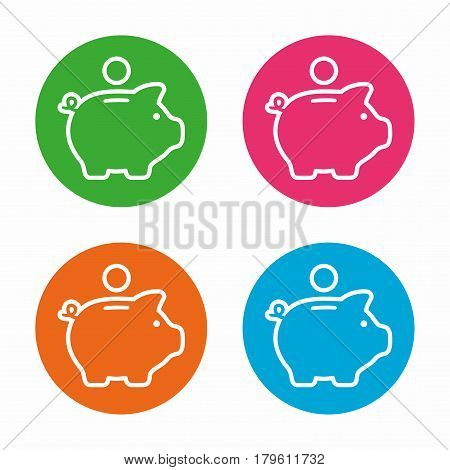 Piggy bank. Vector icon set isolated on white background.