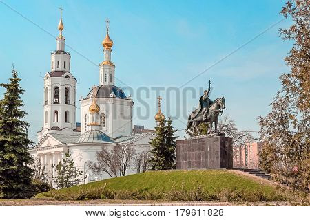 Epiphany Cathedral and monument to Ivan the Terrible in central part of Oryol