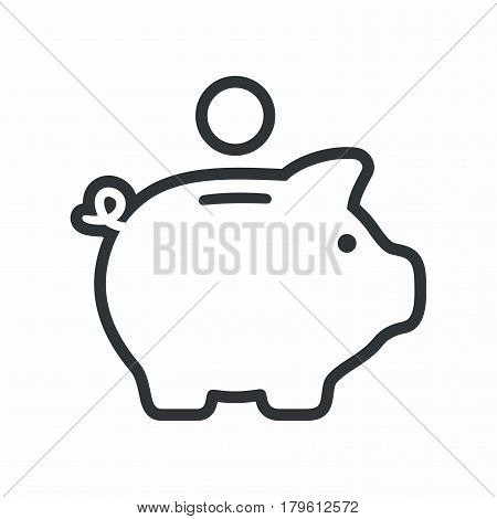 Piggy bank. Vector icon isolated on white background.