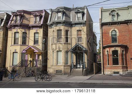 Row of three old house, Toronto, Canada