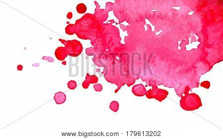 Watercolor bright pink spot blob blot isolated background