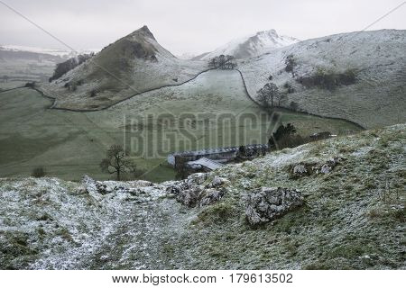 Stuning Winter Landscape Image Of Chrome Hill And Parkhouse Hill In Peak District England