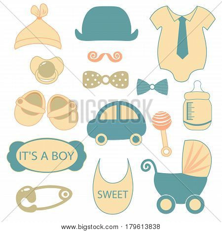 baby boy shower accessories. Little man set. Blue, gray, cream colors. Illustration of baby clothes, mustaches, bow ties,