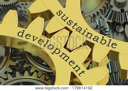 sustainable development concept on the gearwheels 3D rendering