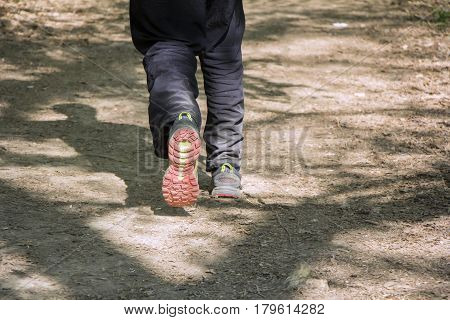 Man walking cross country and trail in forest