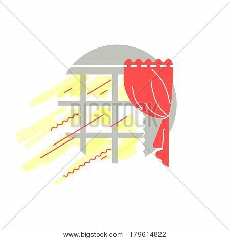 Selling infographics. Interior illustration of the cozy warm house with sun rays. Bright inviting living room