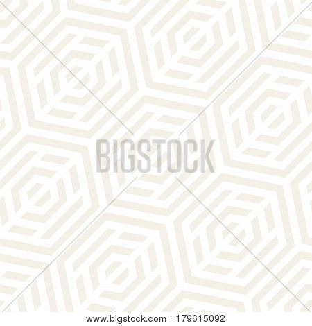 Vector Seamless Pattern. Modern Subtle Geometric Texture. Repeating Lattice Abstract Background. Linear Grid From Striped Hexagonal Elements.