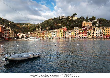 PORTOFINO, ITALY - DECEMBER 2016: Small port with color architecture in Portofino town, Italy