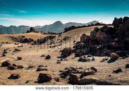 Moon surface of Teide National par on Tenerife island, Spain