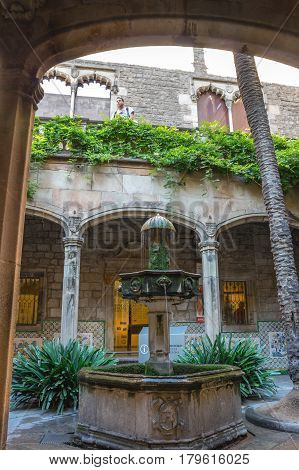 BARCELONA SPAIN - OCTOBER 23 2015: Old house in gothic quarter of Barcelona the capital city of the autonomous community of Catalonia in the Kingdom of Spain