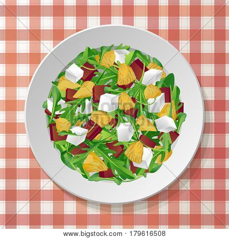Vegetable salad with fresh tasty arugula rucola rocket green leaves red beet beetroot feta cheese orange citrus on plate red tablecloth checkered background. Top view color vector illustration.