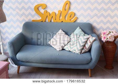 Living Room Interior With Sofa Divan Pillows