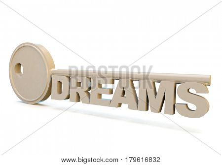 metaphor for aspiration, achievement and dreaming big, with a key and type
