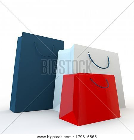 red, blue and white paper shopping bags on a white background