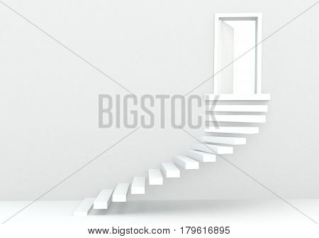 3d render of white steps in white studio environment with white door and light