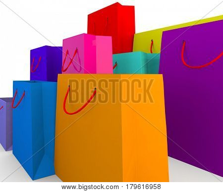 different colours and styles and sies of luxury paper shopping bags