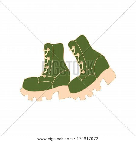 Hiking boots on the white background. Vector illustration