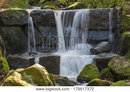 Cascade mountain stream Nova Ves Czech Republic