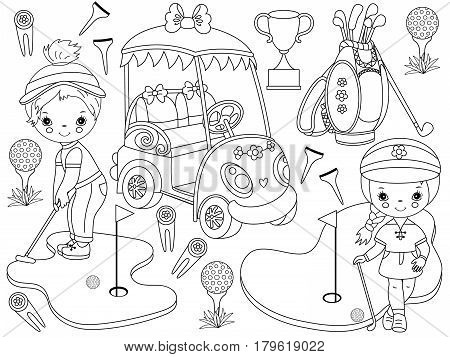 Vector black and white golf set with little girls playing golf, golfer, golf club, golf bag, golf buggy and trophy