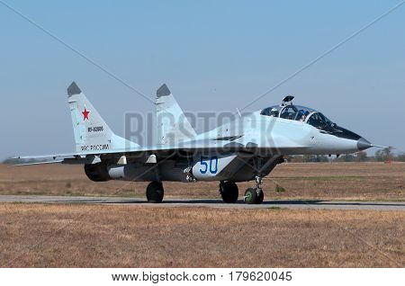 Training and combat aircraft MiG-29UB Kushchevskaya Russia October 3 2015