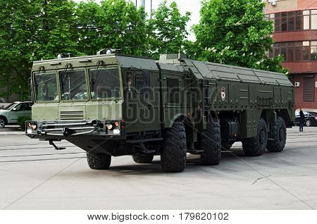 Tactical rocket Iskander Rostov-on-Don Russia May 9 2014. Reserve equipment for the Victory Day parade.