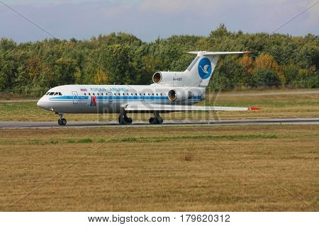 The Yak-42 aircraft is accelerating before take-off Rostov-on-Don Russia October 13 2010. The plane of the now defunct airline ALK (Kuban Airlines)
