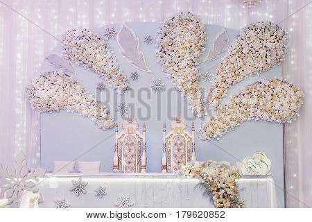 Luxury Decorated Centerpiece For Bride And Groom With Hydrangea And Roses At Rich Wedding Reception.