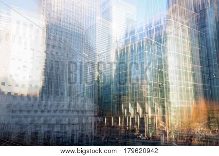 Multiple exposure effect image. Canary Wharf office buildings view. London