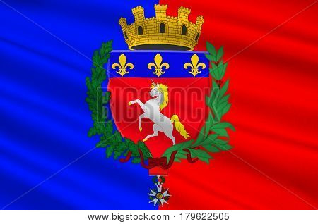 Flag of Saint-Lo is a commune in north-western France the capital of the Manche department in the region of Normandy. 3d illustration