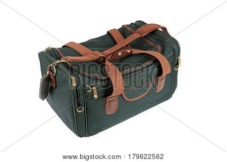 Dark green hold-all luggage bag against a white background