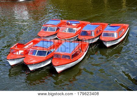 York Yorkshire England UK - May 22 2016 : Boats on the river Ouse in the City of York