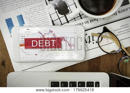 Debt Loan Money Finance Word Graphic