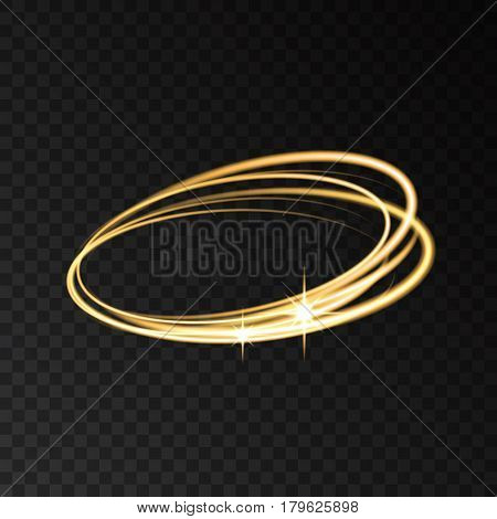 Gold Neon Circle Speed Motion Lights Effects.