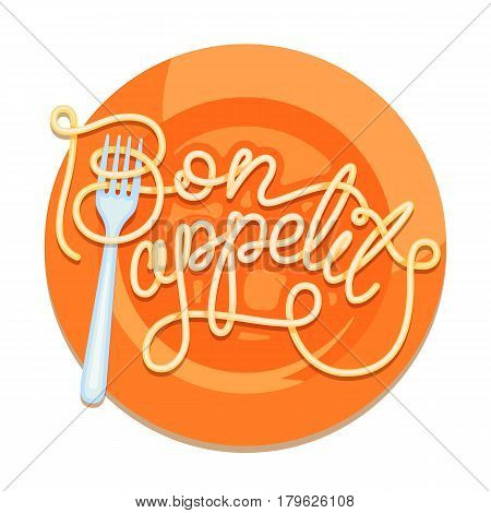 Hand inscription lettering noodles. Design character Bon appetit on orange plate.