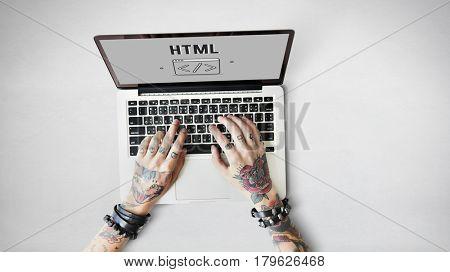 Programmer Coding HTML Script Concept