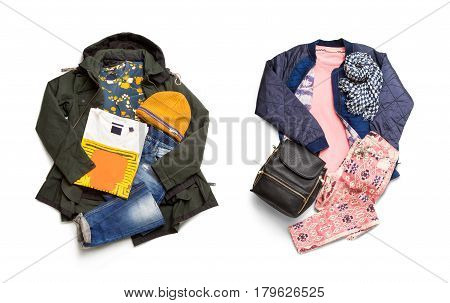 Man and woman collection. Set of jackets, jeans, sweatshirts, caps, t-shirts, scarf and bag