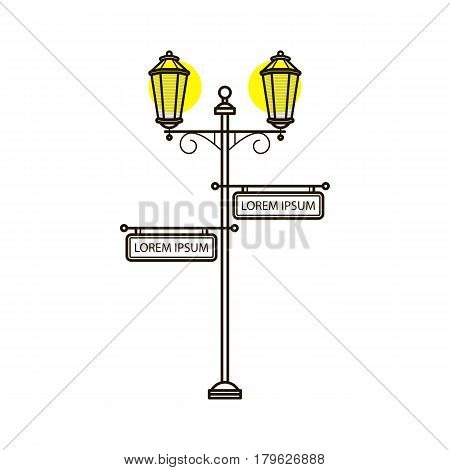 Vector streetlight in flat style with sign. Vintage outdoor light. Exterior illuminator with pointer. Street lamppost and banner blank advertisement. Trditional frame. Ancient architecture
