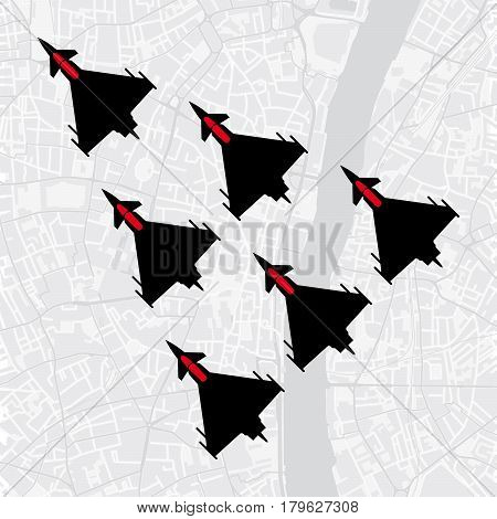 Top view of a group of military aircraft flying in formation over a city - Vector image