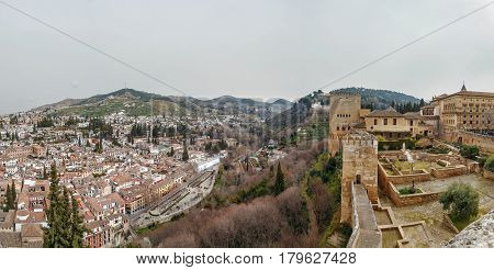 view of Alhambra and Granada city from Alcazaba fortress Spain